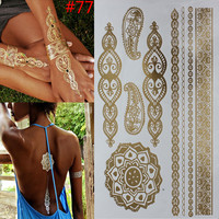 Metalic Leaf Tatoos Gold Metallic Temporary Flash Tattoos Sex Products jewelry etal Bling Henna Tatouage Body Paint Stickers