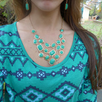 Turquoise and Gold Colored Bib Statement Necklace Web Necklace Mint Necklace with FREE Earrings