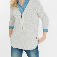 Marl Zip Front Express London Tunic Sweater from EXPRESS