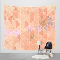 Mermaid scales. Peach and pink watercolors. Wall Tapestry by VanessaGF