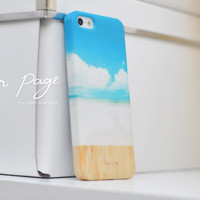 Apple iphone case for iphone iphone 5 iphone 4 iphone 4s iPhone 3Gs : Beautiful cloud, beach and sky with wood (Not real wood) )
