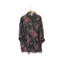 Slouchy SHEER Floral Blouse Button Up 90s Festival Shirt Oversized Bohemian Grunge Gypsy Preppy Long Sleeve Top Womens Large XL