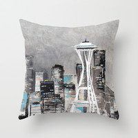 Cityscape (Seattle) Throw Pillow by Beth Thompson