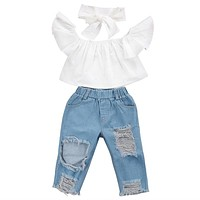 Children Girls Clothes Off shoulder Crop Tops White+ Hole Denim Pant Jean Headband 3PCS Toddler Kids Clothing