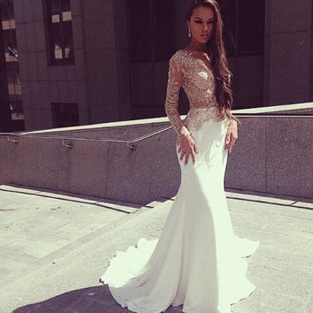 White Mermaid Prom Dresses 2015 Long Sleeves See Through Floor Length Prom Party Dress Vestido De Festa Longo