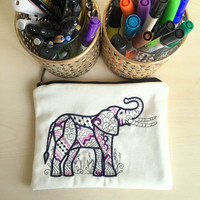 Tribal Elephant Clutch,Embroidered Linen Bag,Womens Embroidered Make up bag,Linen Clutch,Fabric Clutch,Boho clutch bag,Yoga Book Case