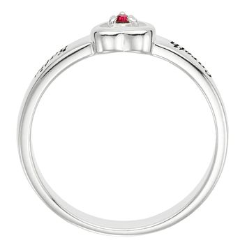 Personalized Heart Birthstone Ring engraved - STERLING SILVER