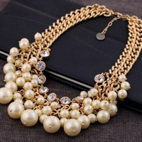 Buy Home Luxury Pearl and Crystal Necklace 2 Broke Girls Inspired Caroline Pearl Statement Necklace