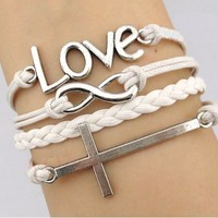 4 Piece White and Silver Set