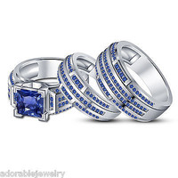 His & Her Wedding Trio Ring Set with Blue Sapphire in White Gold On 925 Sterling