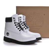 Timberland Rhubarb boots for men and women shoes waterproof Martin boots lovers White