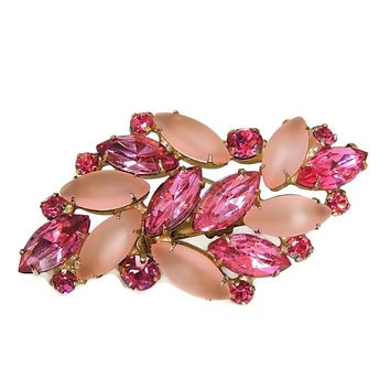 Vintage Pink Rhinestone Brooch Fire and Frost Dazzling