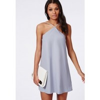 Missguided - Crepe Diagonal Strap Shift Dress Powder Blue