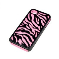 Black Pink Zebra Hard Soft Silicone Case Cover For iPhone 4 4S