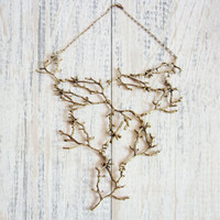 Statement Twig Necklace,Golden Branch Necklace, Cascading Twig Necklace, Nature Jewelry, Woodland, Forest Jewelry, Tree Bib Necklace