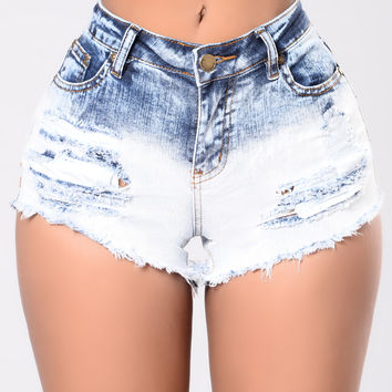Addicted To Dip Dye Shorts - Blue