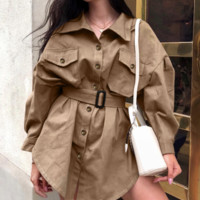 Women's street fashion khaki dress new mid-skirt long sleeve high waist pocket lacing