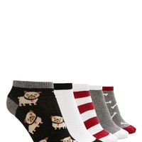 Dog Pattern Ankle Socks Set