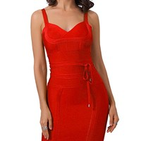No Time To Waste Red Sleeveless V Neck Tie Waist Bodycon Bandage Mini Dress - 8 Colors Available