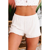 Destination Relaxation Ribbed Knit Ruffled Shorts (Oatmeal)