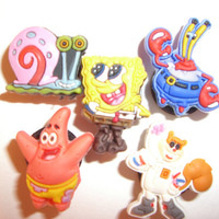 5 SpongeBob Cartoon Button Shoe Charms for Jibbitz bracelets or Crocs shoes