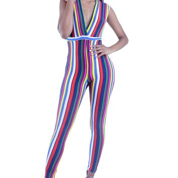 Colorful Stripe Pattern Sleeveless Scoop V-Neck Catsuit Jumpsuit