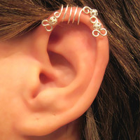 """No Piercing """"Silver Peacock"""" Cartilage Ear Cuff for Upper Ear 1 Cuff WIRE COLOR CHOICES"""