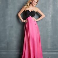 (PRE-ORDER) Night Moves by Allure 2014 Prom Dresses - Black & Fuchsia Chiffon & Beaded Strapless Prom Gown