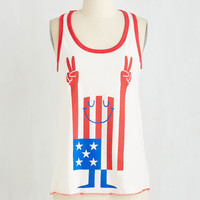 ModCloth Americana Mid-length Sleeveless Peace Train of Thought Top