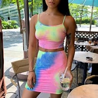 2020 new women's tie-dye sling tube top skirt fashion suit two-piece set