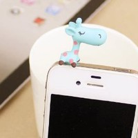 NF-New cut pretty 3D Blue giraffe pantern cut Earphone jack accessory Crystal Dust Plug / Ear Cap / Ear Jack For iPhone / iPad / iPod Touch / Samsung htc Other 3.5mm Ear Jack gift with Retail packaging