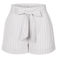 LE3NO Womens Casual High Waist Pin Striped Shorts With Removable Self Tie Waist Belt