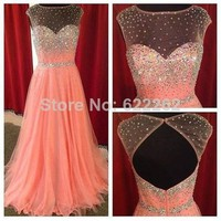 Sexy Scoop Neck See Through Coral Prom Dresses 2014 New Arrival GirlS Party Evening Gowns Real Sample 100% quality Guarantee-in Prom Dresses from Apparel & Accessories on Aliexpress.com | Alibaba Group