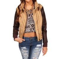 Camel Jacket With Faux Leather Sleeves