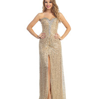 (PRE-ORDER) 2014 Prom Dresses - Gold Sequin & Stone Strapless Sweetheart Gown