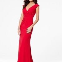 Red V-Neck Crepe Gown - Haute Hues - Prom