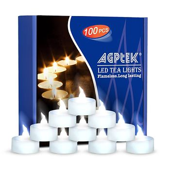 AGPtEK Tea Lights,100 Pack Flameless LED Candles Battery Operated Tealight Candles No Flicker Long Lasting Tealight for Wedding Holiday Party Home Decoration(Cool White) Cool White