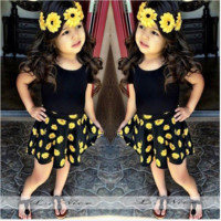 Girls Yellow Black Floral Dress