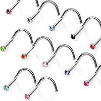 Screw Nose Ring with Press Fitted Gem