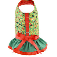 Holly Print Ruffled Dog Cat Vest Harness
