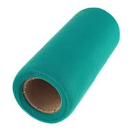 Premium American Tulle Spool Roll, Made in the USA, 6-Inch, 25 Yards, Teal
