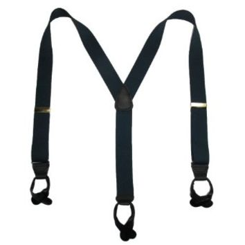 CTM® Mens Elastic Button End Suspenders (Tall Available), Regular, Navy