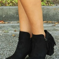Cross That Line Booties: Black