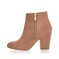 Pink faux suede heeled ankle boots - ankle boots - shoes / boots - women