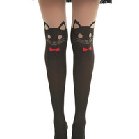 LOVEsick Red Bow Cat Faux Thigh High Tights