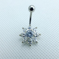 Crystal Belly Button Jewelry 14 Gauge Titanium Bar White/Pink Flower Navel Ring (white)