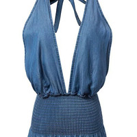 Blue Plunge Neck Halter Backless Ruffle Hem Denim Bralet