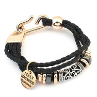 Mens Wrap Multilayer Leather Bracelet Braided Rope Jewelry Accessories P18