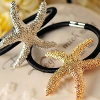 Pretty & Unique Gold & Silver Style Starfish Elastic Hair Ties