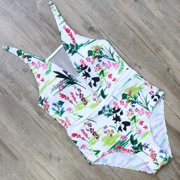 HOT! SEXY! Monokini 2017 Leaves/Flowers One Piece Swimsuit